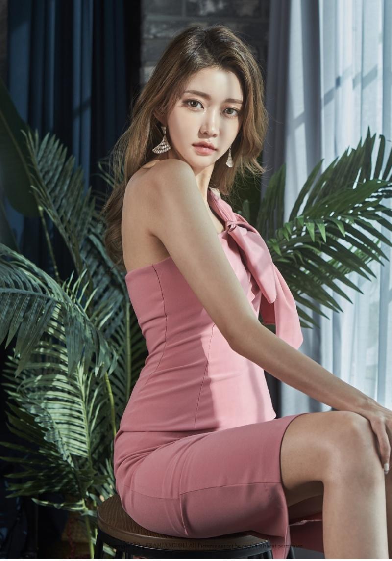 【Nina SHOP】韓國春裝 性感斜肩蝴蝶結包臀連衣裙 晚宴服